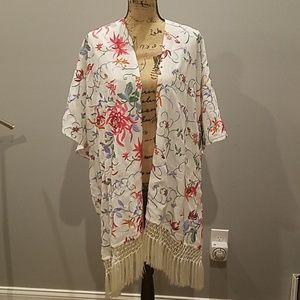 Embroidered Floral Kimono with fringe